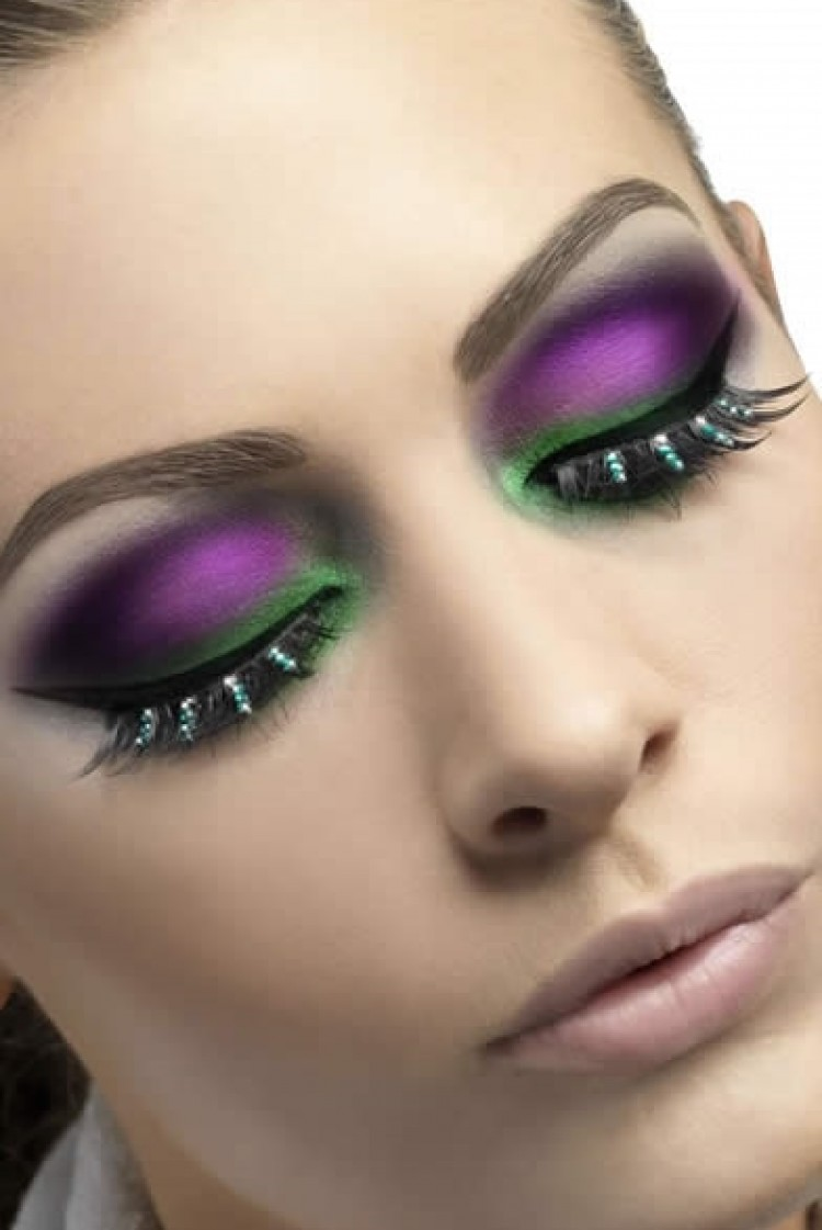 Black Eyelashes With Green Diamante