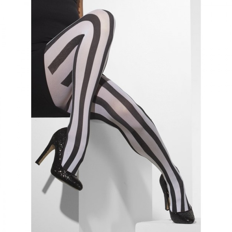Opaque Black And White Vertical Striped Tights