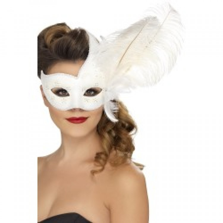 White Ornate Columbina Eyemask