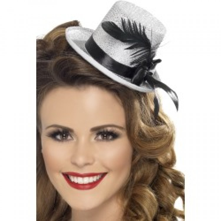 Silver Glitter Mini Top Hat with Ribbon