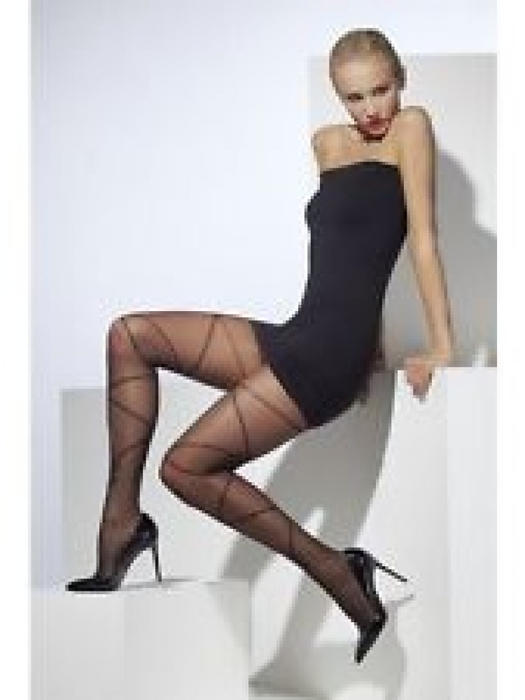 Black Sheer Tights with Criss and Bow Print