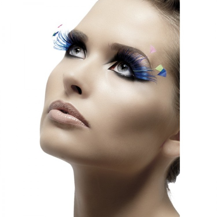 Blue and Neon Feather Plume Eyelashes