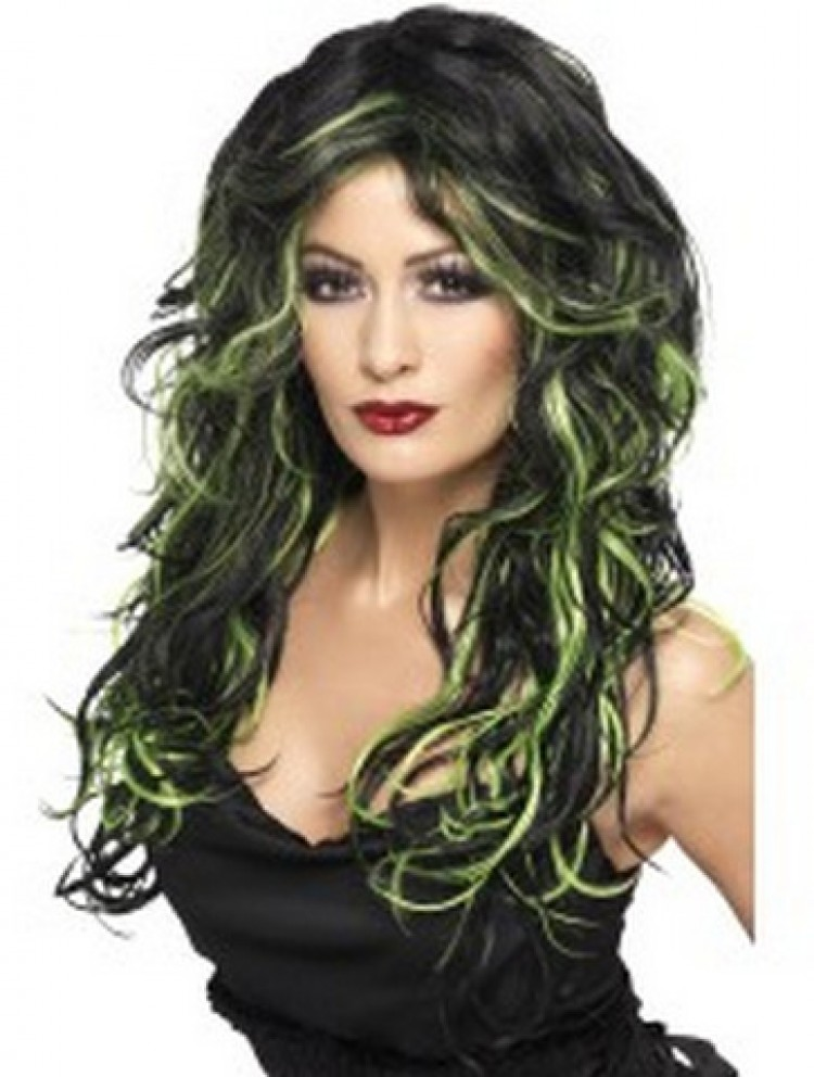 Gothic Bride Wig, Black and Green