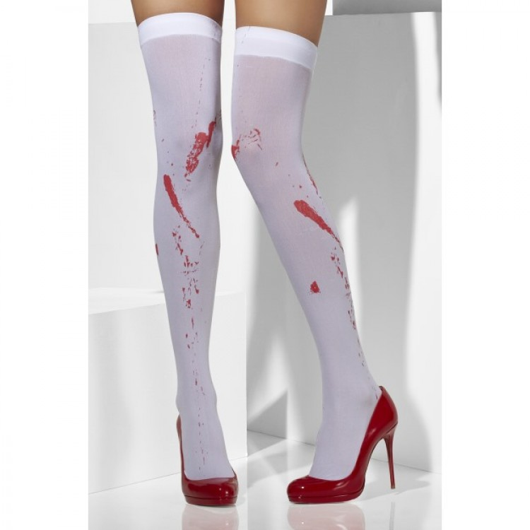 White Halloween Opaque Hold Ups With Blood Stain Print