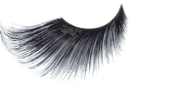 Extra Long Black Eyelashes With Black Jewel