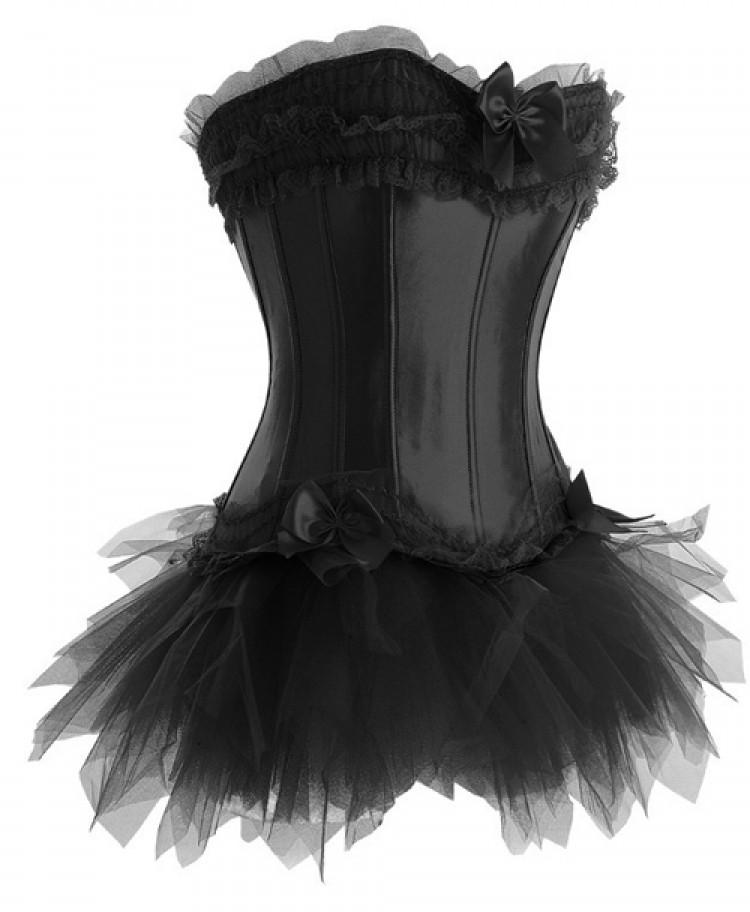 Black Satin Corset Top with Tutu Skirt