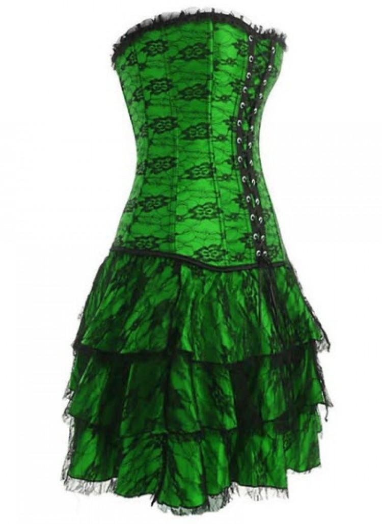 Green Layered Lace Corset Dress