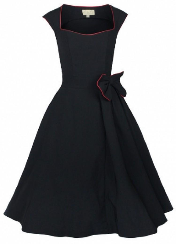 Retro Bow Black Dress