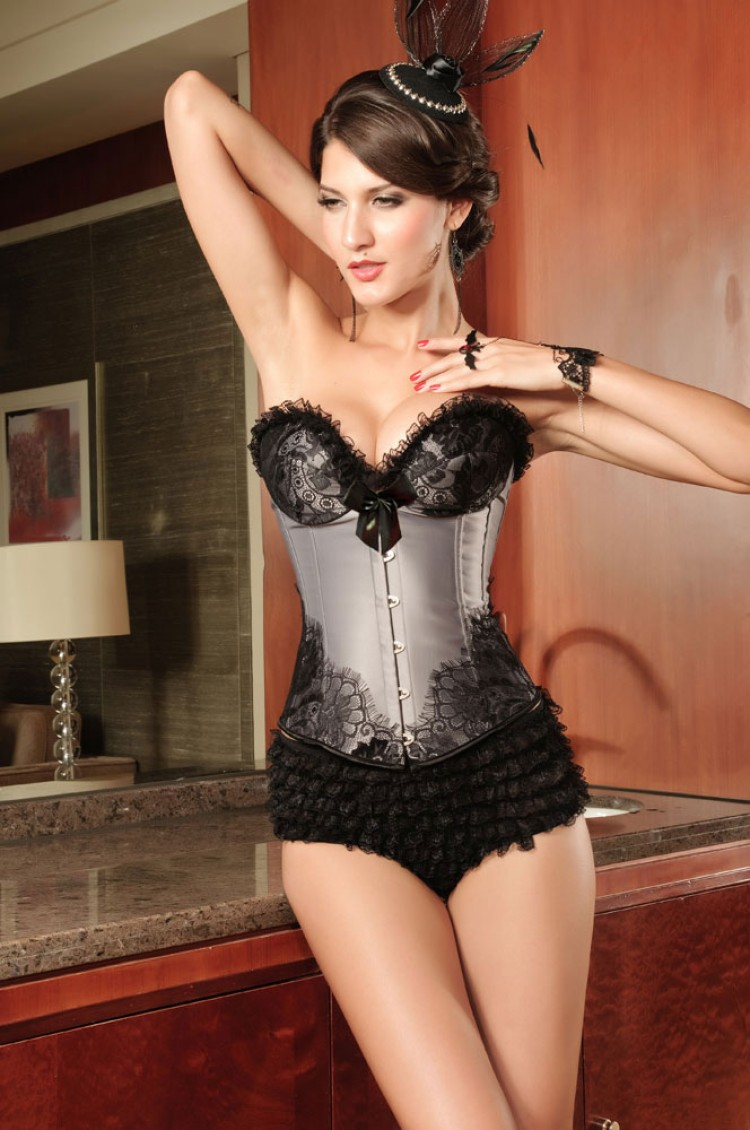 Silvery Grey Satin Corset Top