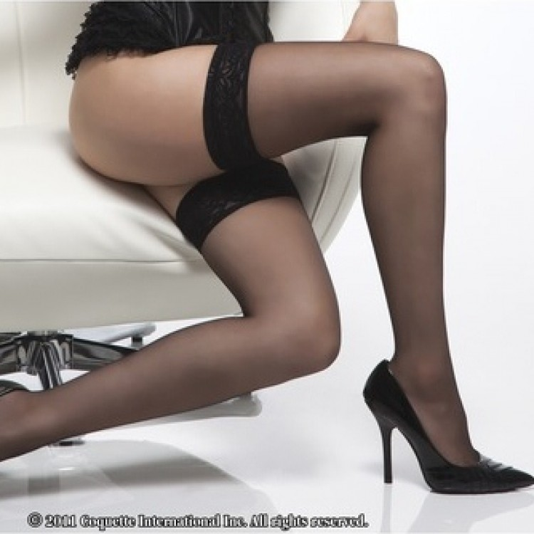 Sheer thigh high stocking with lace top.
