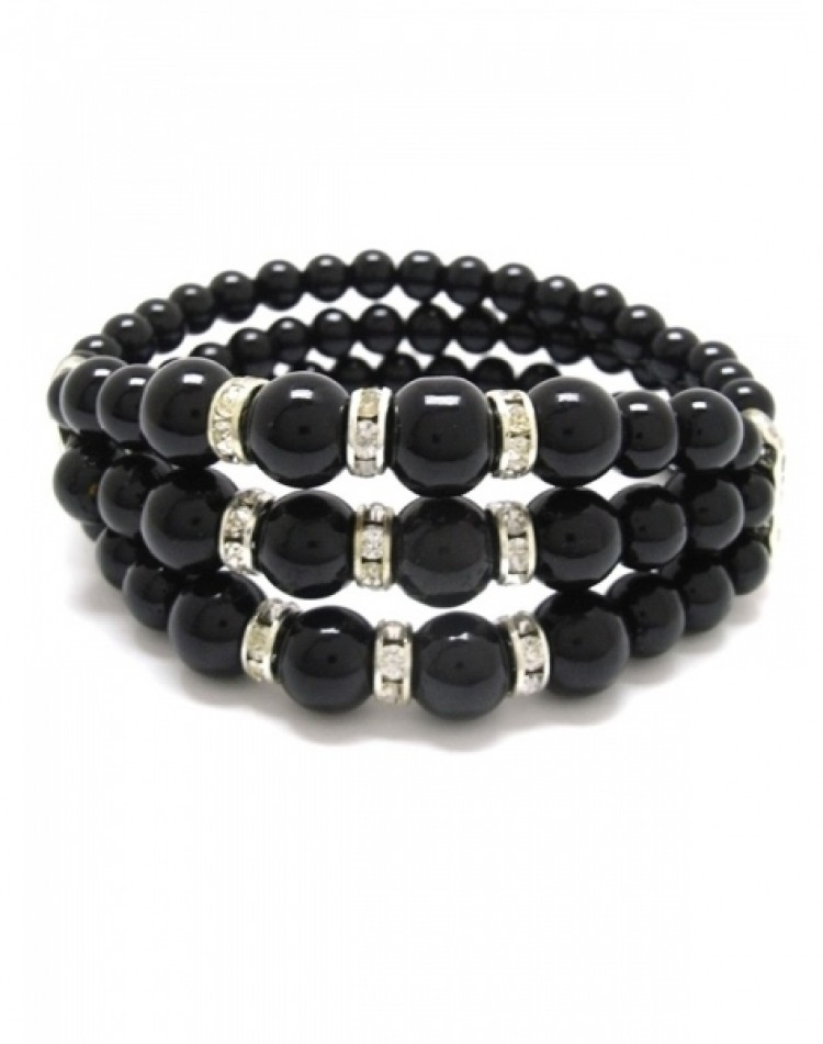 Black Bead and Rondell Stretch Bracelet
