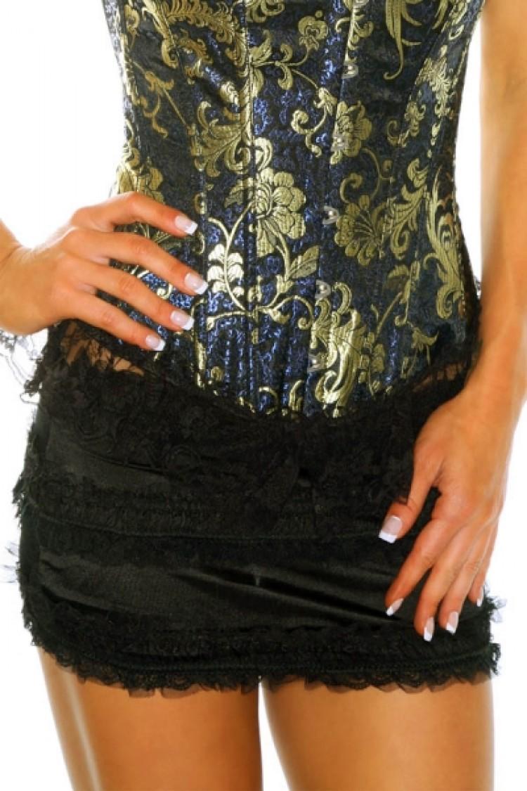 Black Ruched Ruffle Mini Skirt