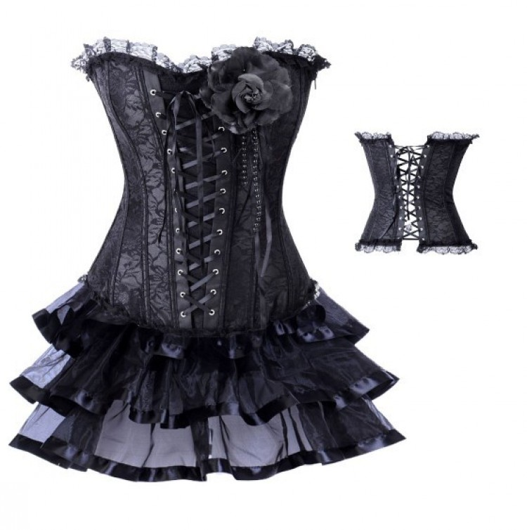 Black Satin Lace-up Corset Outfit & Ribbon Burlesque Skirt