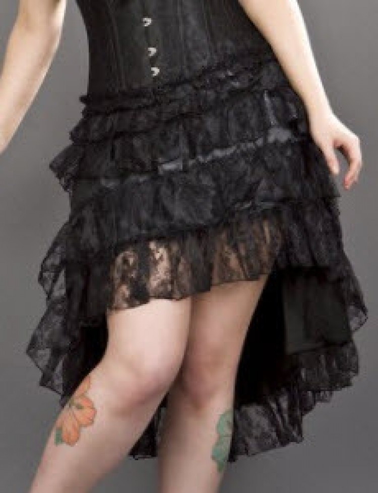 Black Layered Lace Burlesque Skirt