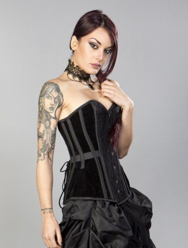 Morgana long corset in black flock