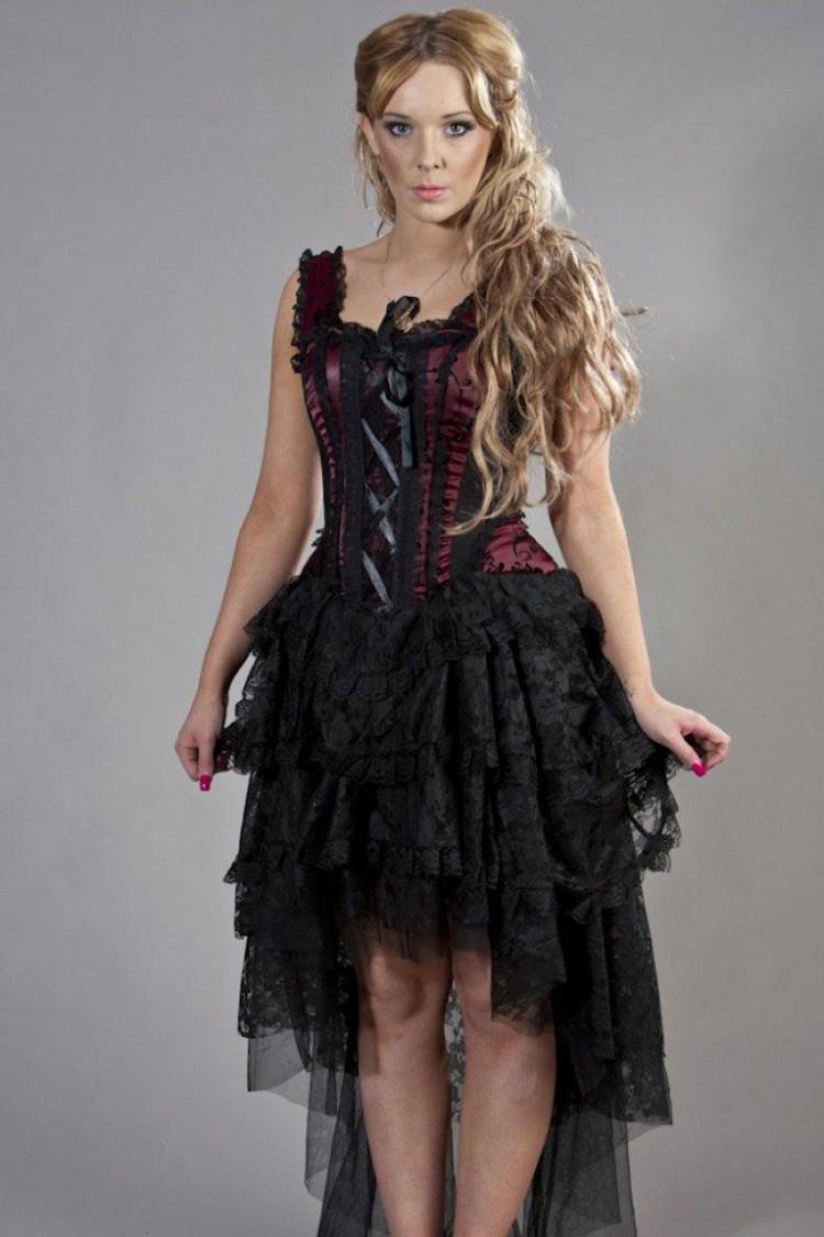 Ophelie Corset Dress In Burgundy Flock
