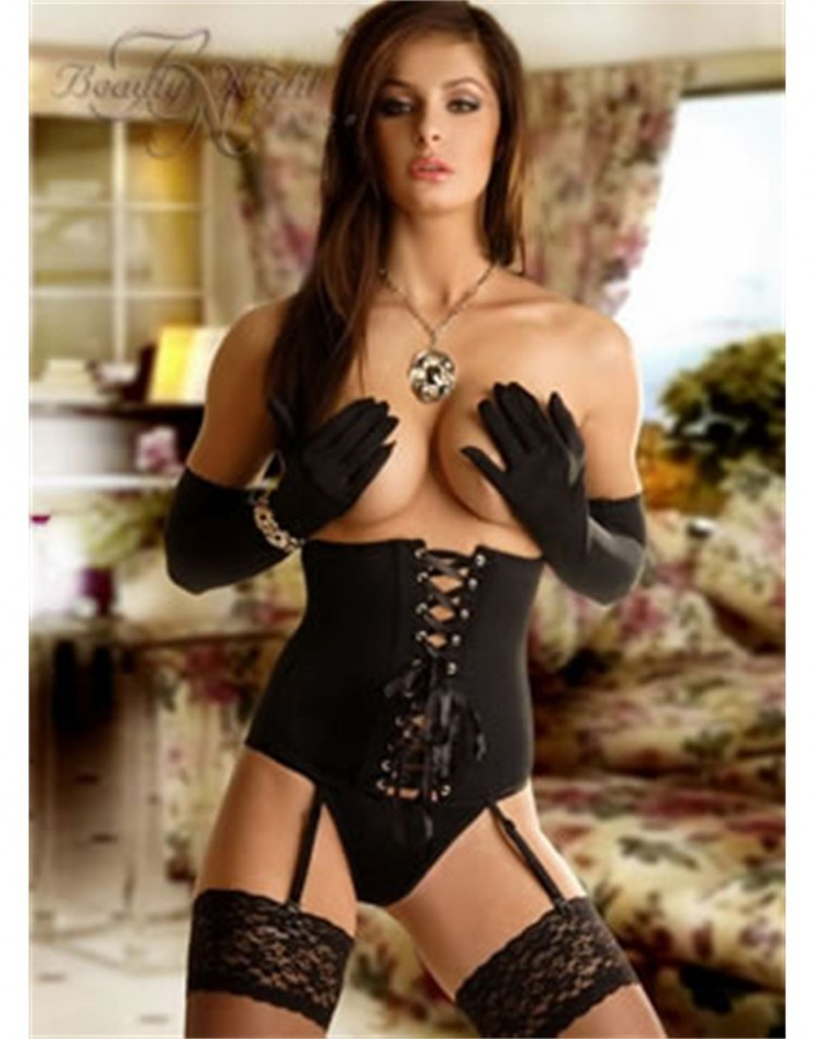 Sexy Waist-Clincher, Thong & Gloves Set by Beauty Night