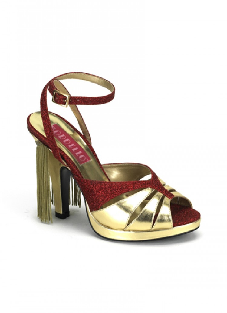 Red Gold Ankle Strap Burlesque Shoes (UK 5)