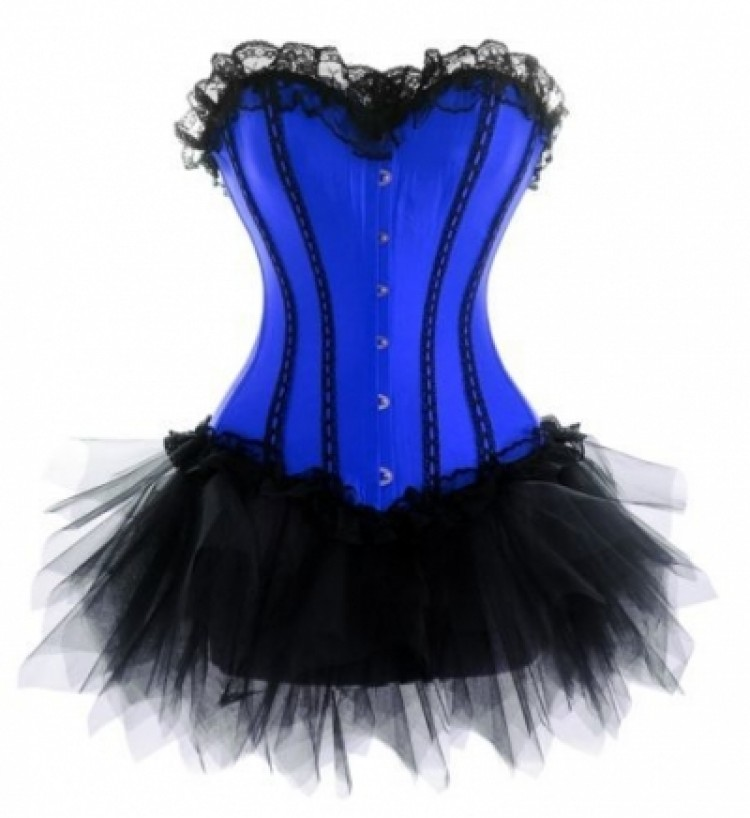 Blue Corset Outfit with Lace Trim