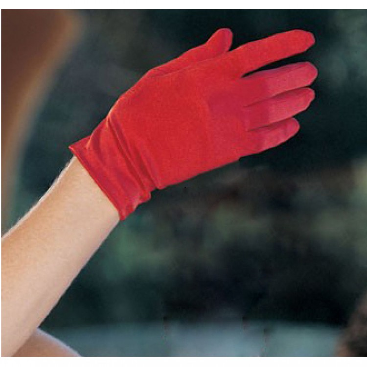 Red Satin Wrist Length Gloves